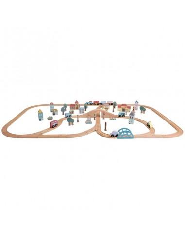 Circuito tren de madera gran ciudad - Little Dutch